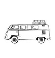 hand drawn sketch of truck in black isolated on vector image
