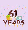 happy birthday 61 years card vector image vector image