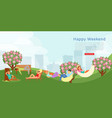 happy city weekend outdoors leisure in park vector image vector image
