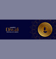 happy diwali dark blue banner with golden diya vector image vector image