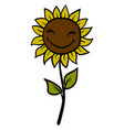 happy sunflower on white background vector image vector image
