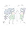 happy young girl standing in front of a mirror vector image vector image