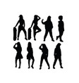 hip hop kid silhouettes vector image