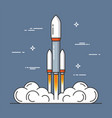 launch of a rocket project start up thin line vector image vector image