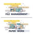 line art file management paperwork template vector image vector image
