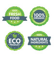 modern green eco badge set 100 percent organic vector image vector image