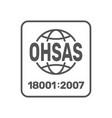ohsah 18001 2007 certified symbol 18001 vector image