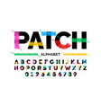 patched font design stitched with thread vector image vector image