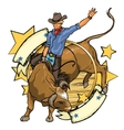 Rodeo Cowboy riding a bull label design with vector image vector image