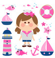 sailor girl nautical set collection vector image vector image