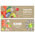 seafood restaurant menu with delicious fesh fish vector image vector image