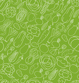 Seamless pattern with vegetables on green vector image