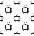 seamless television pattern black and white design vector image