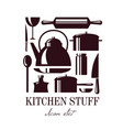set kitchen stuff isolated template for vector image