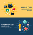 Set of Moview Concept Flast Style Web Banner vector image vector image