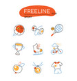 sport - modern colorful line design style icons vector image