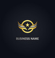 star wing emblem round gold logo vector image