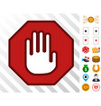 stop hand sign icon with bonus vector image vector image