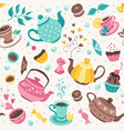 teapots and cups pattern vector image vector image