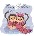 Two Cute Monkeys vector image