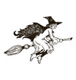 witch flying on broomstick engraving vector image