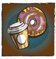 coffee and donut pop art comics retro style vector image