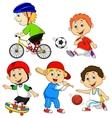 Funny boy cartoon character doing sport vector image