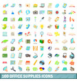 100 office supplies icons set cartoon style vector image