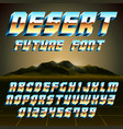 80s desert alphabet and numbers vector image