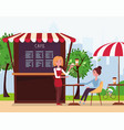 a young girl waiter brought an order to client vector image vector image