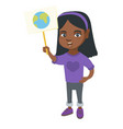 african-american girl holding placard with planet vector image vector image
