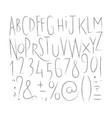 alphabet sharp lines font vector image