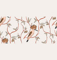 bird pattern light seamless floral botanical vector image
