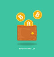 bitcoin wallet with golden coins with b symbol vector image vector image
