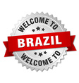 Brazil 3d silver badge with red ribbon vector image vector image