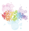 Bright background with white mandala on colorful vector image