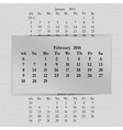 calendar month for 2016 pages February vector image vector image