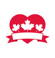 canada day heart with maple leaves decoration vector image vector image