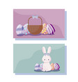 cards with cute rabbit female and eggs of easter vector image vector image
