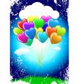 cartoon heart balloons vector image vector image