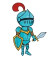 Cartoon knight in armour with sword and shield vector image vector image