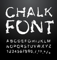 Chalk font Alphabet written in white chalk Letters vector image vector image