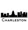 Charleston City skyline black and white silhouette vector image vector image