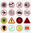 coronavirus covid-19 prohibition stickers set vector image