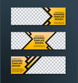 design of horizontal web banners of yellow color vector image vector image