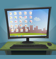 desktop computer with operating system on screen vector image