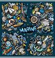 doodles cartoon set marine combinations vector image