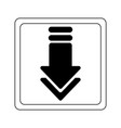 download arrow down button black and white vector image