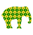 elephant silhouette on the background of yellow vector image vector image