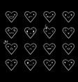 emoticons doodle hearts black vector image